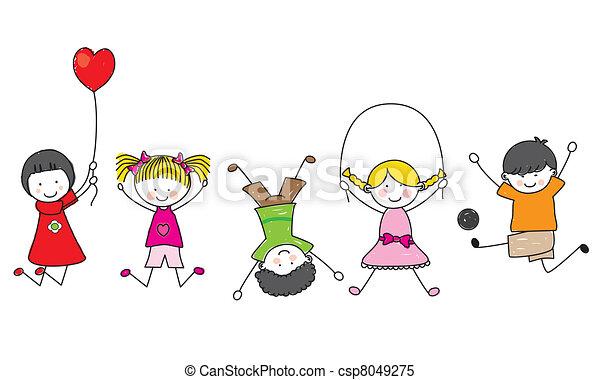 felice, bambini, gioco - csp8049275