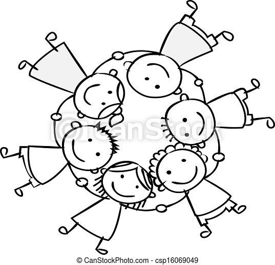 felice, bambini, tenendo mano - csp16069049