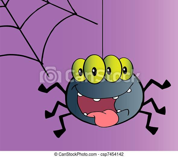 Felice carattere cartone animato ragno web ragno strisciante
