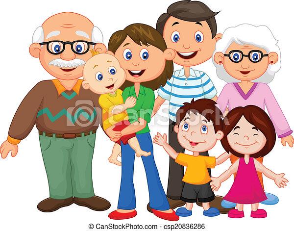 felice, cartone animato, famiglia - csp20836286