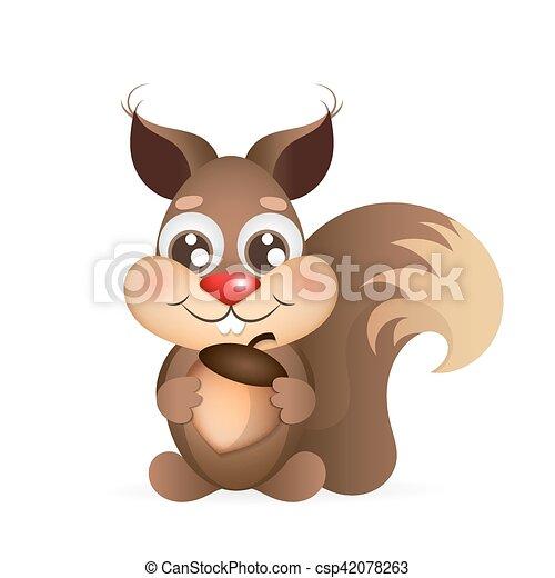 Felice cartone animato scoiattolo. acorn. correndo felice