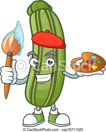 felice, cartone animato, spazzola, icona, pittore, zucchini - csp76711520