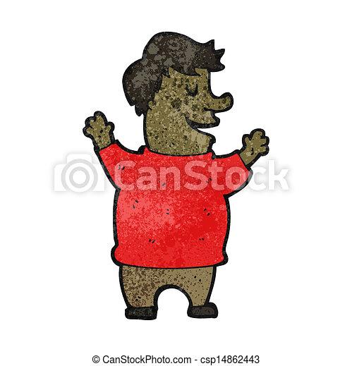 Felice cartone animato uomo grasso