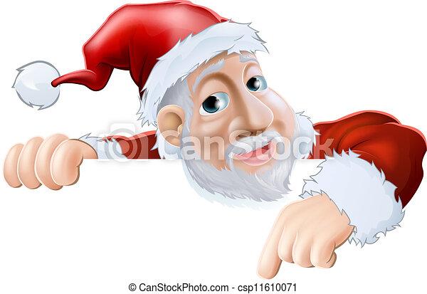 felice, giù, santa, indicare, cartone animato - csp11610071