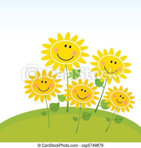 felice, girasoli, giardino, primavera - csp5749879