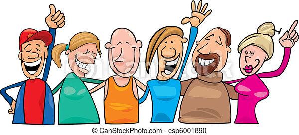felice, gruppo, persone - csp6001890