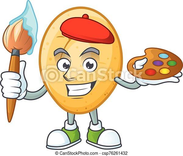 felice, icona, spazzola, cartone animato, pittore, patata - csp76261432