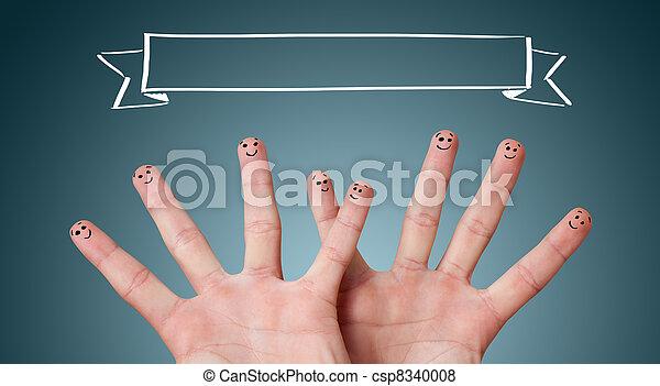 felice, smileys, dito, gruppo - csp8340008