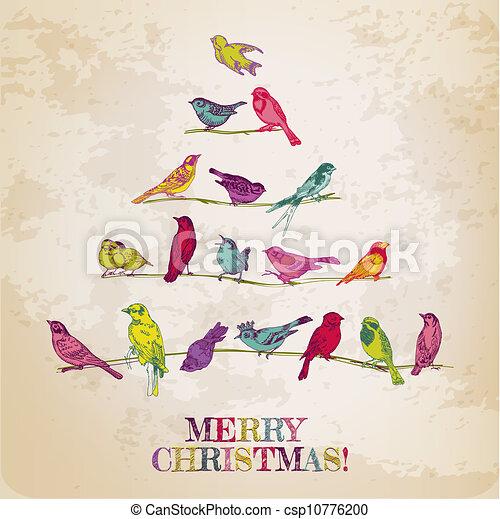 Retro tarjeta de Navidad - pájaros en el árbol de Navidad - por invitación, felicitación en vector - csp10776200