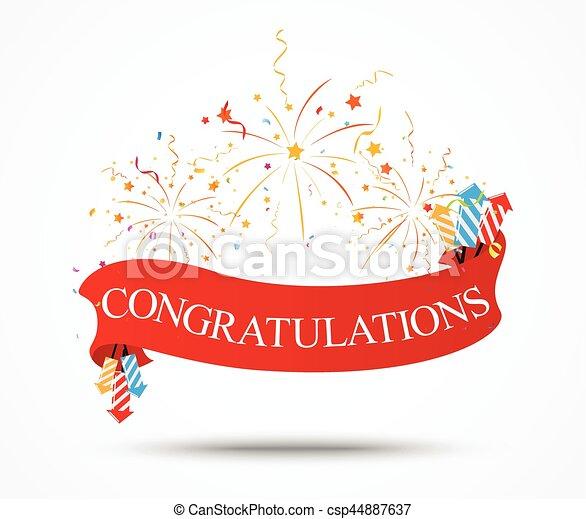 Felicitaciones diseño con fuegos artificiales y cinta - csp44887637