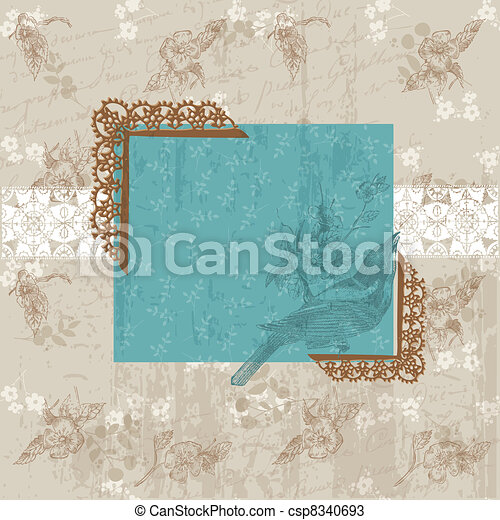 felicitatie, ouderwetse , -, uitnodiging, vector, floral, vogel, kaart - csp8340693
