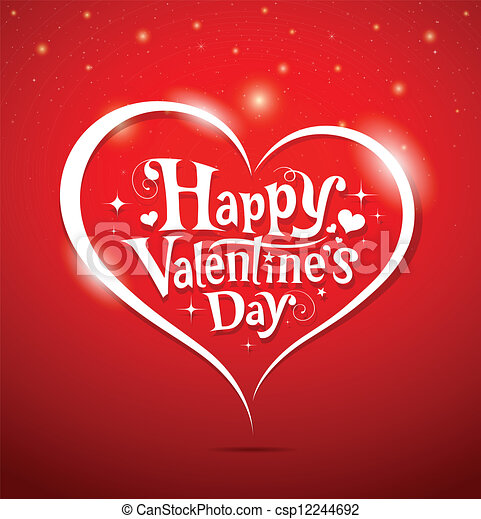 felirat, boldog, nap, valentine's - csp12244692