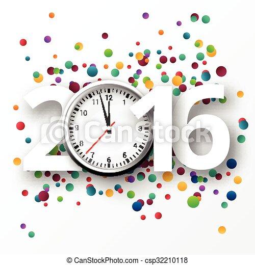 Feliz Año Nuevo 2016 celebración con confeti. - csp32210118