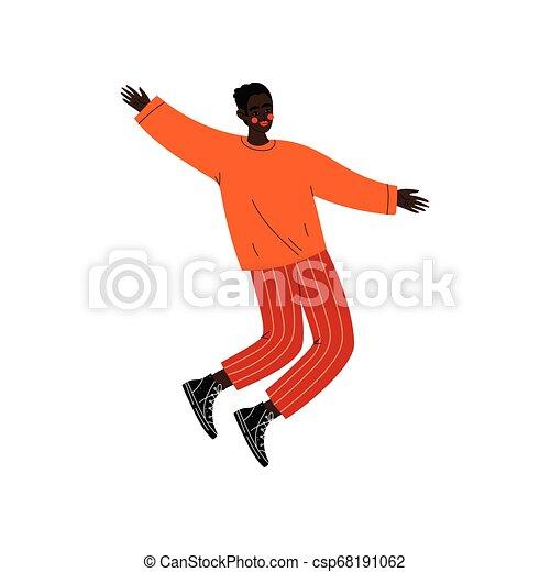 Feliz afroamericano saltando, joven con ropa informal celebrando evento importante, fiesta de baile, amistad, ilustración de vectores deportivos - csp68191062