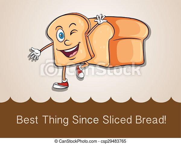 feliz, andar, fatia, pão - csp29483765