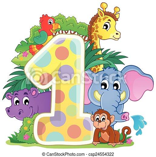 Animales felices alrededor del número uno - csp24554322
