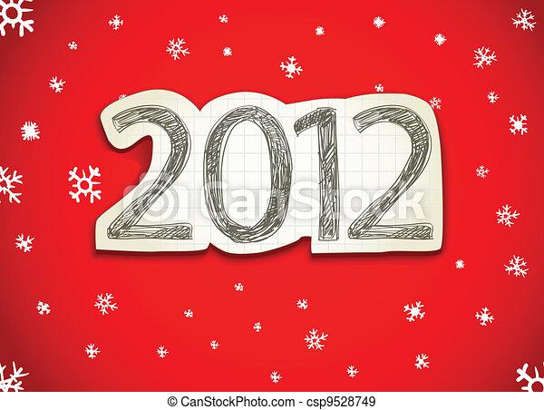 feliz, ano, 2012 - csp9528749