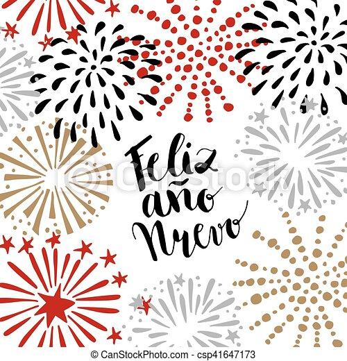 Feliz ano nuevo, spanish happy new year greeting card with ...