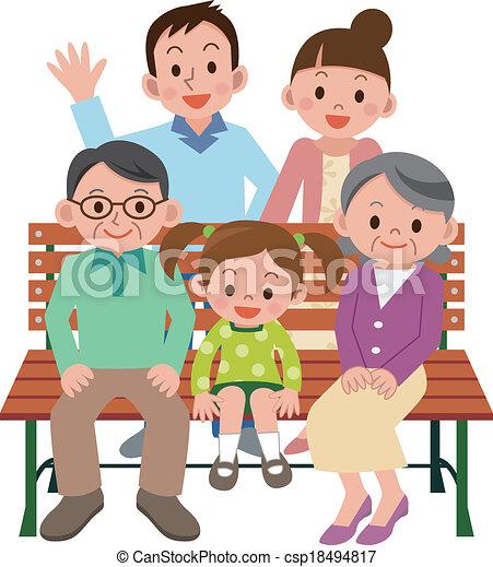 Familia feliz sentada en un banco - csp18494817
