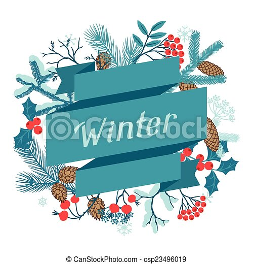 feliz, branches., inverno, stylized, fundo, natal - csp23496019