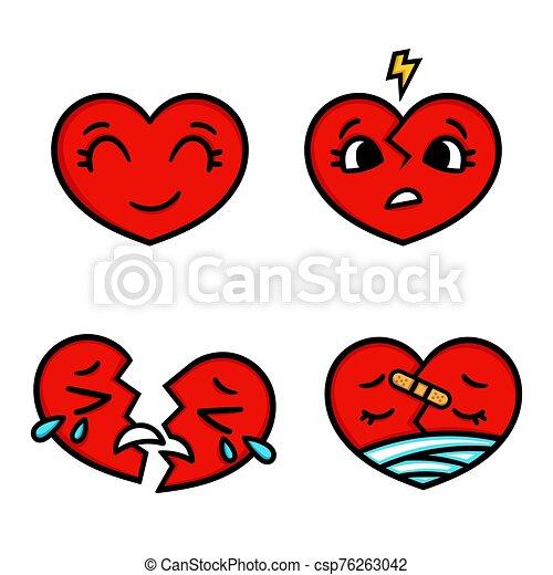 feliz, broken., emoticon, lindo, conjunto, triste, corazones, caricatura - csp76263042
