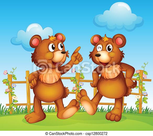 Caras felices de dos osos - csp12800272