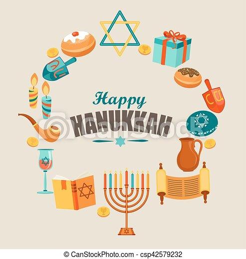 Feliz tarjeta de felicitación Hanukkah. - csp42579232