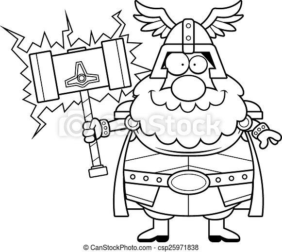 Feliz Thor de dibujos animados - csp25971838
