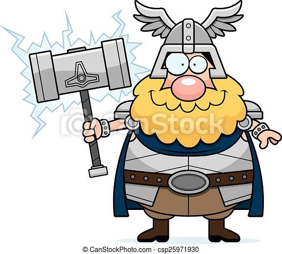 Feliz Thor de dibujos animados - csp25971930