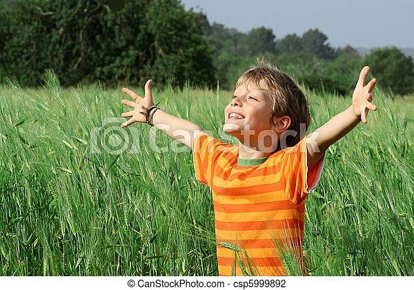 feliz, criança, verão, saudável - csp5999892