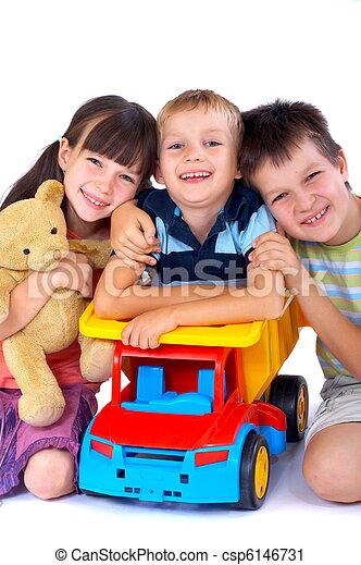 feliz, crianças, brinquedos - csp6146731