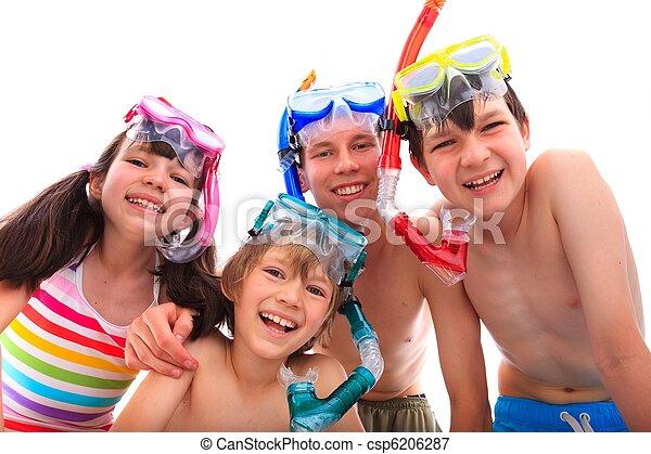 feliz, crianças, snorkels - csp6206287