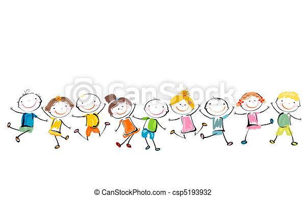 feliz, crianças, tocando - csp5193932