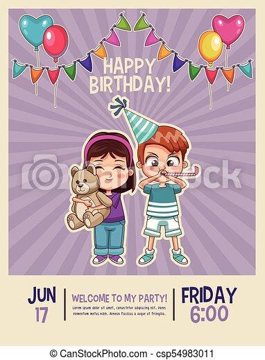 Feliz Cumpleaños Tarjeta Invitación Cumpleaños Gráfico