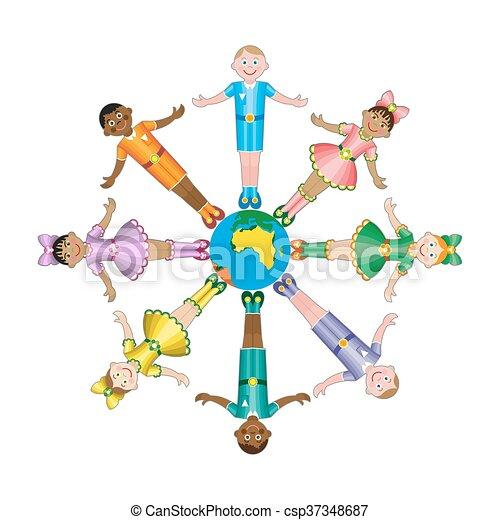 feliz, diferente, raças, círculo, crianças - csp37348687
