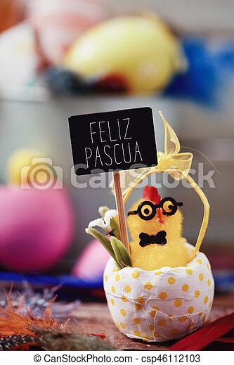 feliz, español, pascua, texto, pascua, feliz - csp46112103