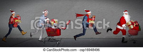 feliz, executando, gifts., xmas, pessoas - csp16948496