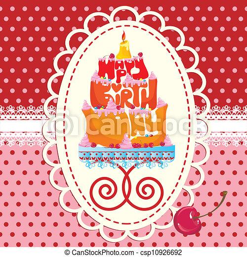 Pastel formado de feliz cumpleaños - csp10926692