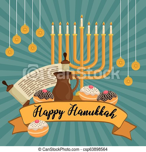 Feliz celebración de iconos Hanukkah - csp63898564