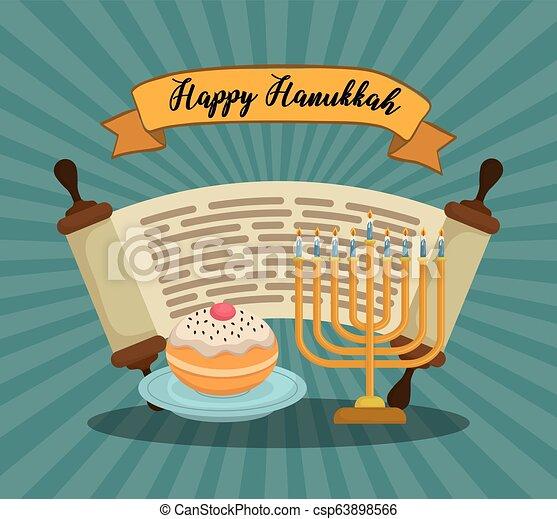 Feliz celebración de iconos Hanukkah - csp63898566