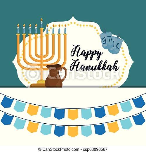 Feliz celebración de iconos Hanukkah - csp63898567