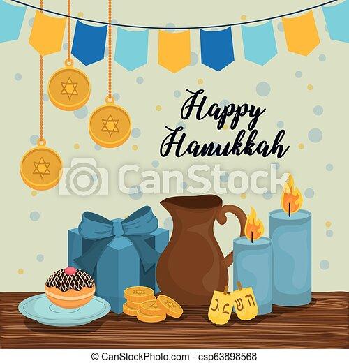 Feliz celebración de iconos Hanukkah - csp63898568