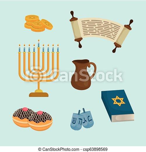 Feliz celebración de iconos Hanukkah - csp63898569