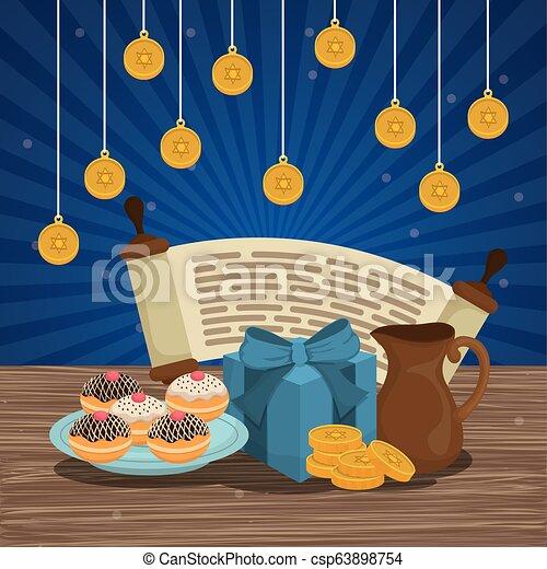 Feliz celebración de iconos Hanukkah - csp63898754