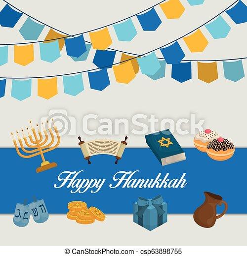 Feliz celebración de iconos Hanukkah - csp63898755
