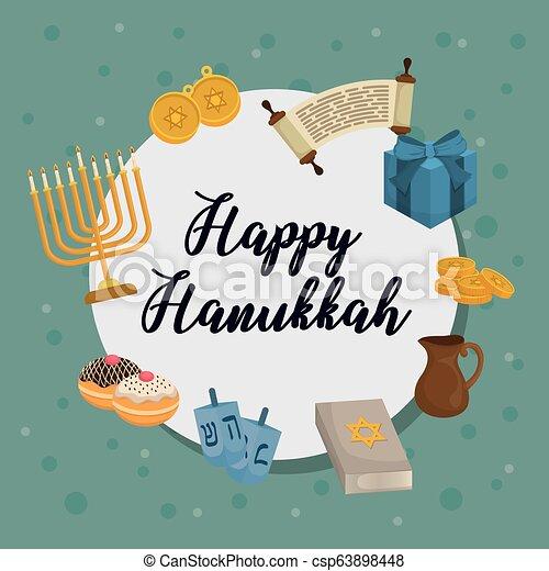 Feliz celebración de iconos Hanukkah - csp63898448