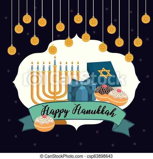 Feliz celebración de iconos Hanukkah - csp63898643