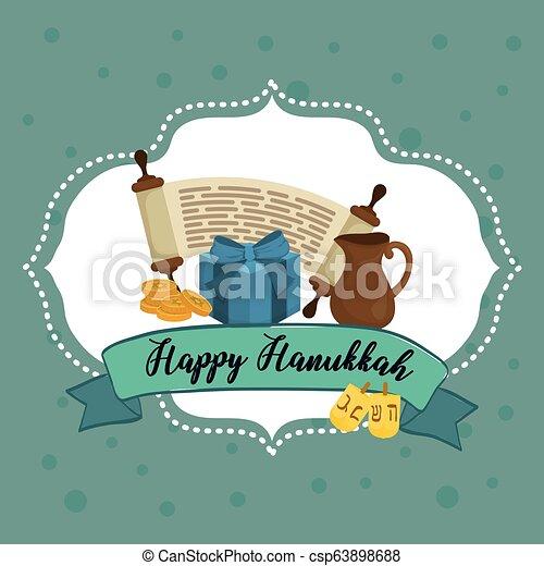 Feliz celebración de iconos Hanukkah - csp63898688