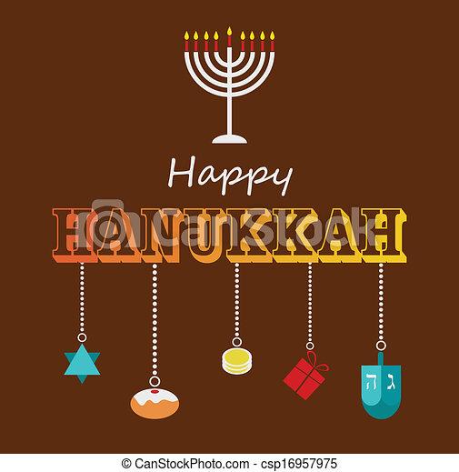 Feliz Hanukkah diseño de tarjetas de felicitación. - csp16957975
