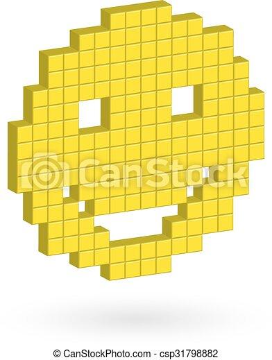 Un amarillo isométrico riéndose alegremente. - csp31798882
